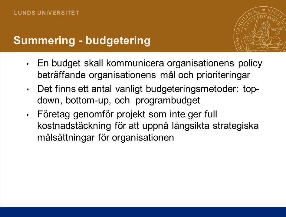 44 L U N D S U N I V E R S I T E T Summering - budgetering En budget skall kommunicera organisationens policy beträffande organisationens mål och prio