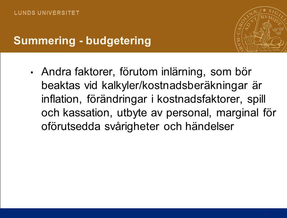 46 L U N D S U N I V E R S I T E T Summering - budgetering Andra faktorer, förutom inlärning, som bör beaktas vid kalkyler/kostnadsberäkningar är infl