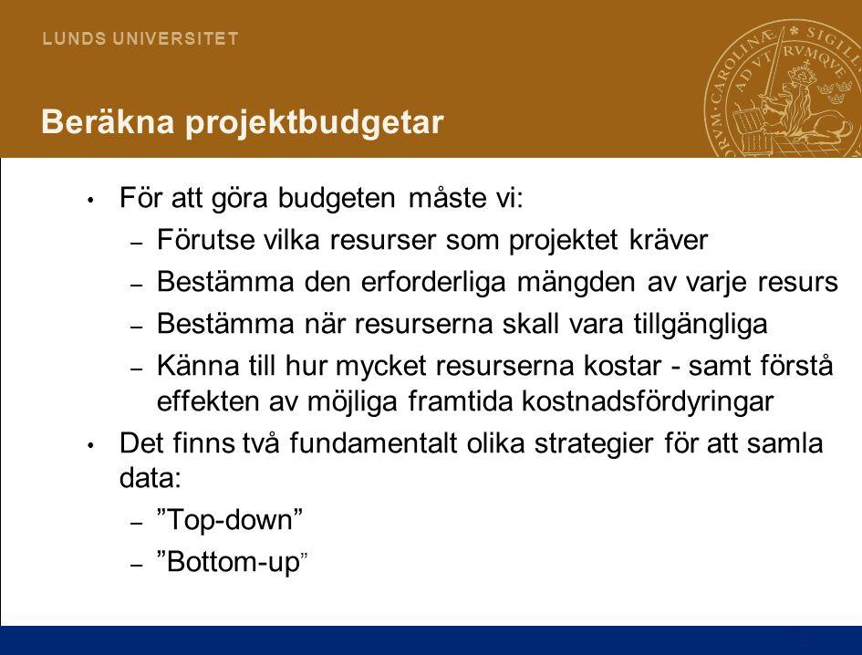 6 L U N D S U N I V E R S I T E T Beräkna projektbudgetar För att göra budgeten måste vi: – Förutse vilka resurser som projektet kräver – Bestämma den