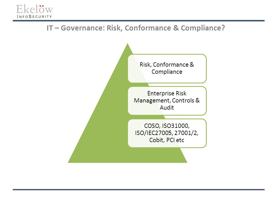 IT – Governance: Risk, Conformance & Compliance? Risk, Conformance & Compliance Enterprise Risk Management, Controls & Audit COSO, ISO31000, ISO/IEC27