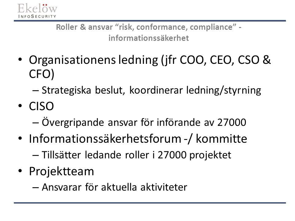"""Roller & ansvar """"risk, conformance, compliance"""" - informationssäkerhet Organisationens ledning (jfr COO, CEO, CSO & CFO) – Strategiska beslut, koordin"""