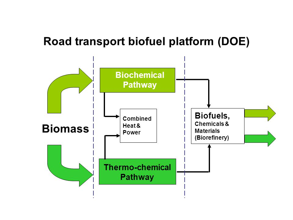 Road transport biofuel platform (DOE) Thermo-chemical Pathway Biochemical Pathway Biofuels, Chemicals & Materials (Biorefinery) Biomass Combined Heat & Power