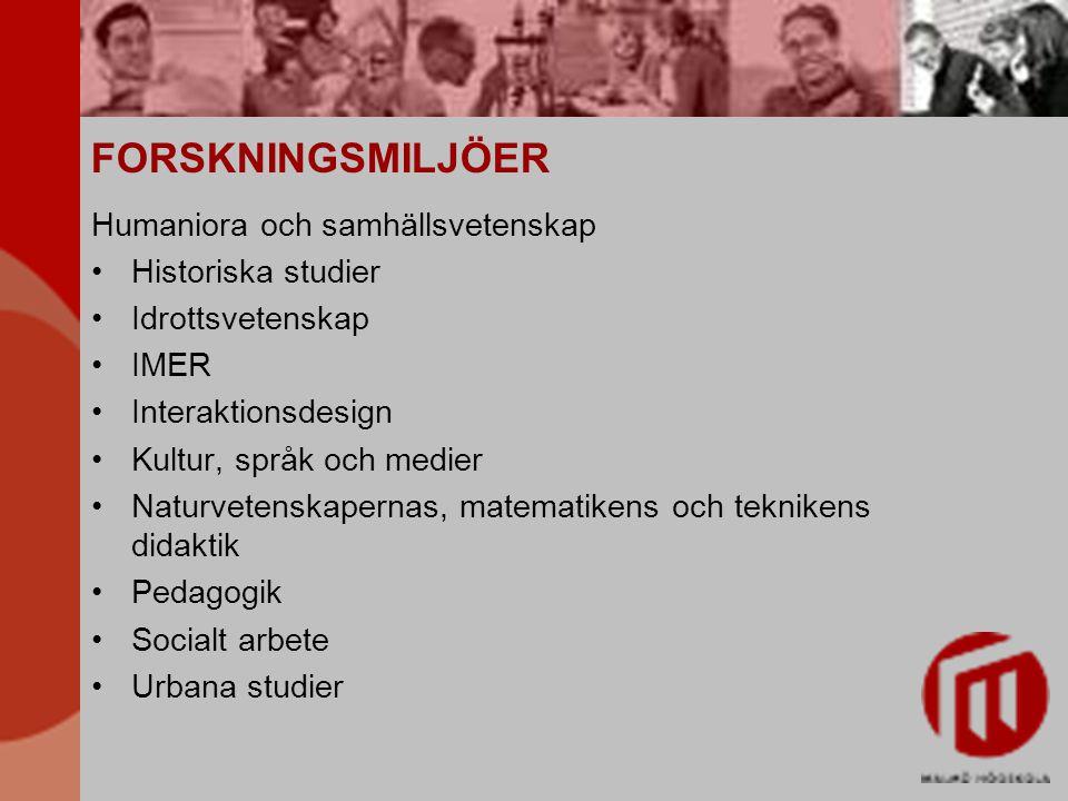 FORSKNINGSMILJÖER Humaniora och samhällsvetenskap Historiska studier Idrottsvetenskap IMER Interaktionsdesign Kultur, språk och medier Naturvetenskape