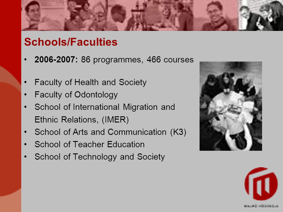 Schools/Faculties 2006-2007: 86 programmes, 466 courses Faculty of Health and Society Faculty of Odontology School of International Migration and Ethnic Relations, (IMER) School of Arts and Communication (K3) School of Teacher Education School of Technology and Society