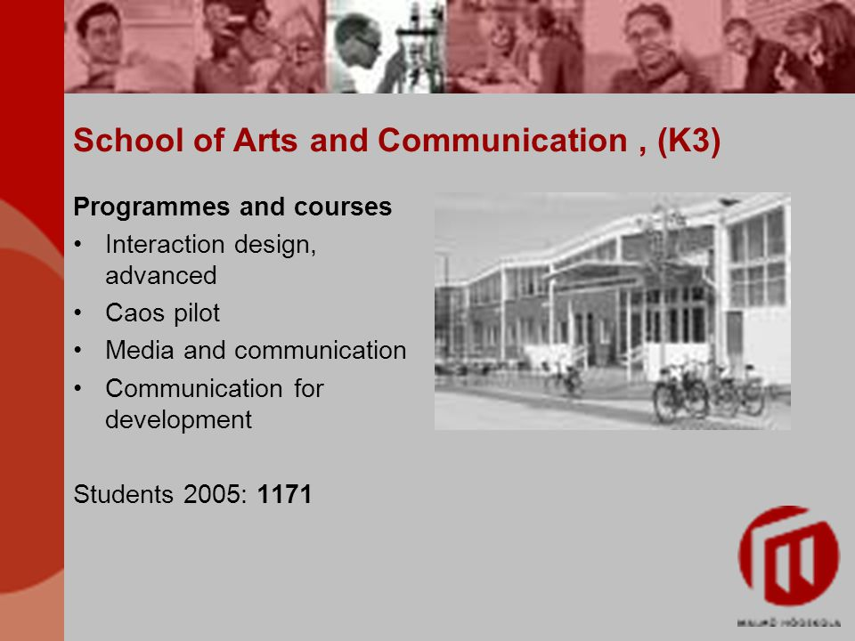 School of Arts and Communication, (K3) Programmes and courses Interaction design, advanced Caos pilot Media and communication Communication for develo