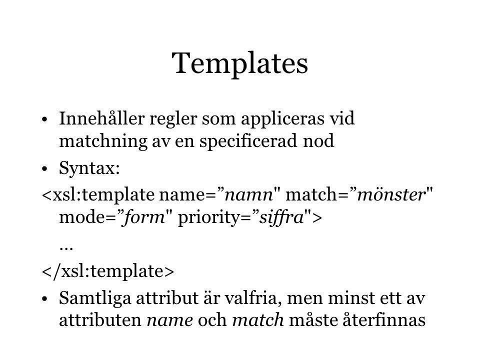 Templates Innehåller regler som appliceras vid matchning av en specificerad nod Syntax: … Samtliga attribut är valfria, men minst ett av attributen name och match måste återfinnas