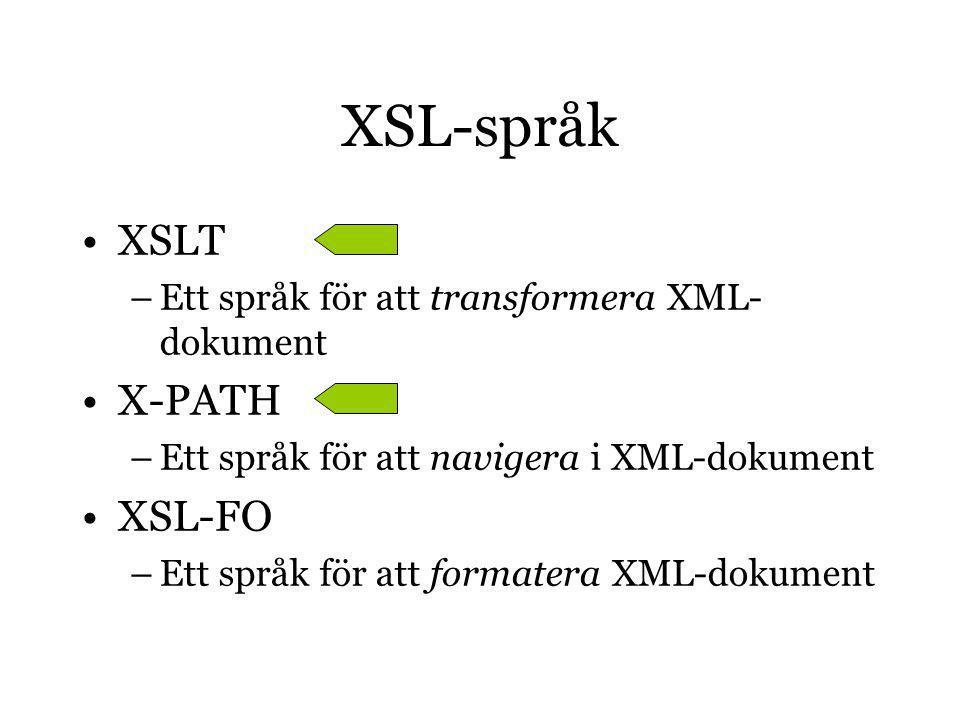XSL-språk XSLT –Ett språk för att transformera XML- dokument X-PATH –Ett språk för att navigera i XML-dokument XSL-FO –Ett språk för att formatera XML