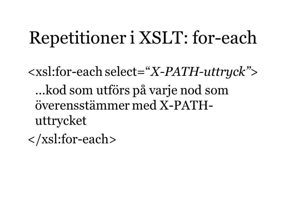 Repetitioner i XSLT: for-each …kod som utförs på varje nod som överensstämmer med X-PATH- uttrycket