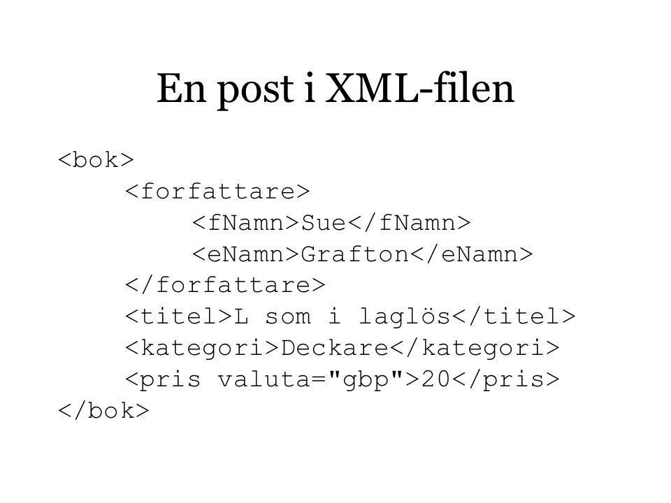En post i XML-filen Sue Grafton L som i laglös Deckare 20