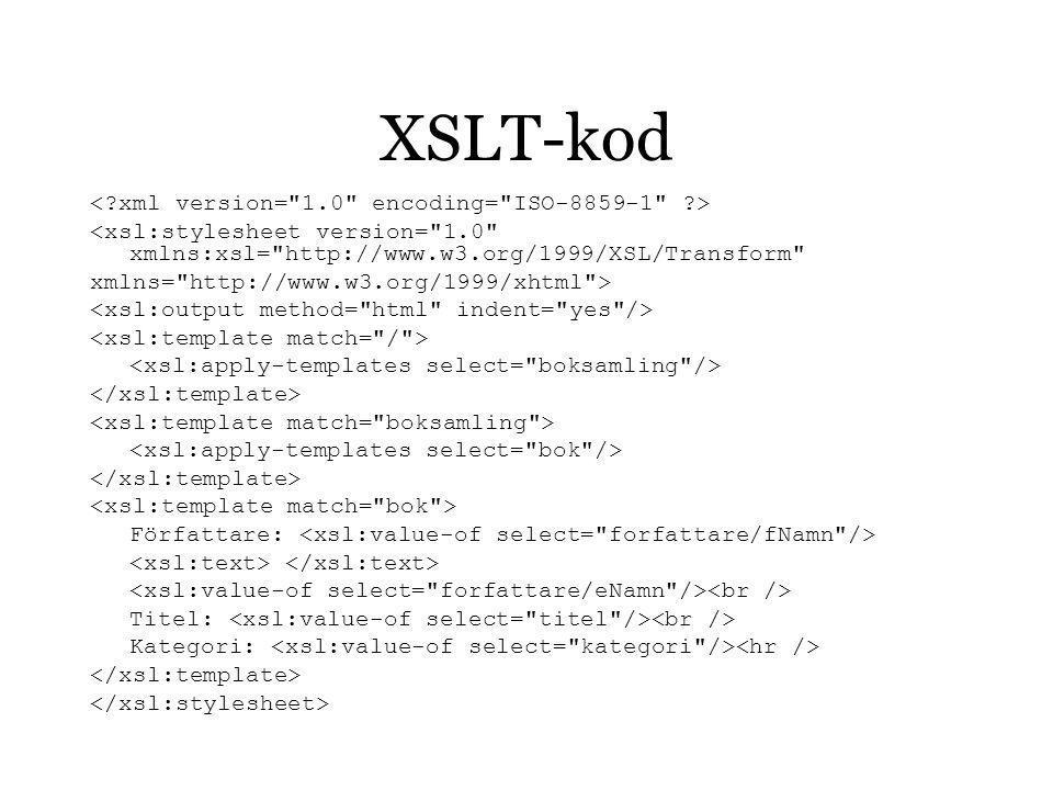 XSLT-kod <xsl:stylesheet version= 1.0 xmlns:xsl= http://www.w3.org/1999/XSL/Transform xmlns= http://www.w3.org/1999/xhtml > Författare: Titel: Kategori:
