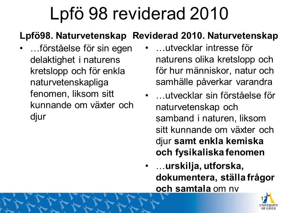 Lpfö 98 reviderad 2010 Lpfö98. Naturvetenskap …förståelse för sin egen delaktighet i naturens kretslopp och för enkla naturvetenskapliga fenomen, liks