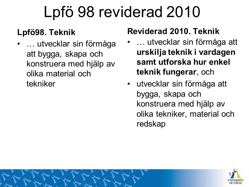 Lpfö 98 reviderad 2010 Lpfö98. Teknik … utvecklar sin förmåga att bygga, skapa och konstruera med hjälp av olika material och tekniker Reviderad 2010.