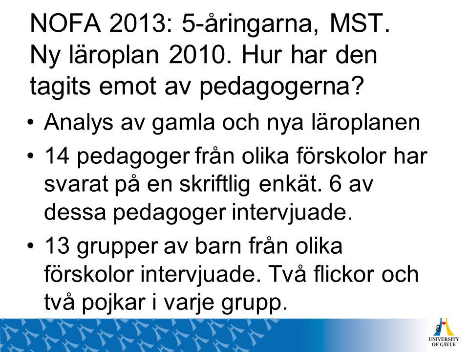 NOFA 2013: 5-åringarna, MST. Ny läroplan 2010. Hur har den tagits emot av pedagogerna? Analys av gamla och nya läroplanen 14 pedagoger från olika förs