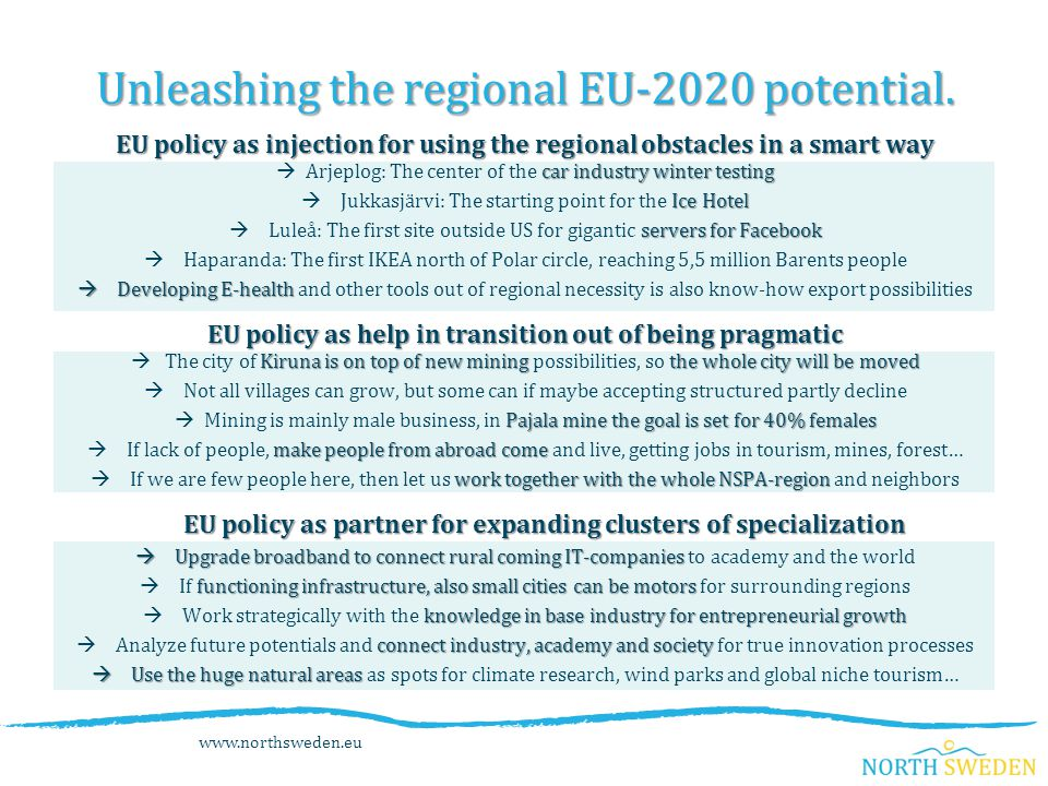 www.northsweden.eu Unleashing the regional EU-2020 potential.