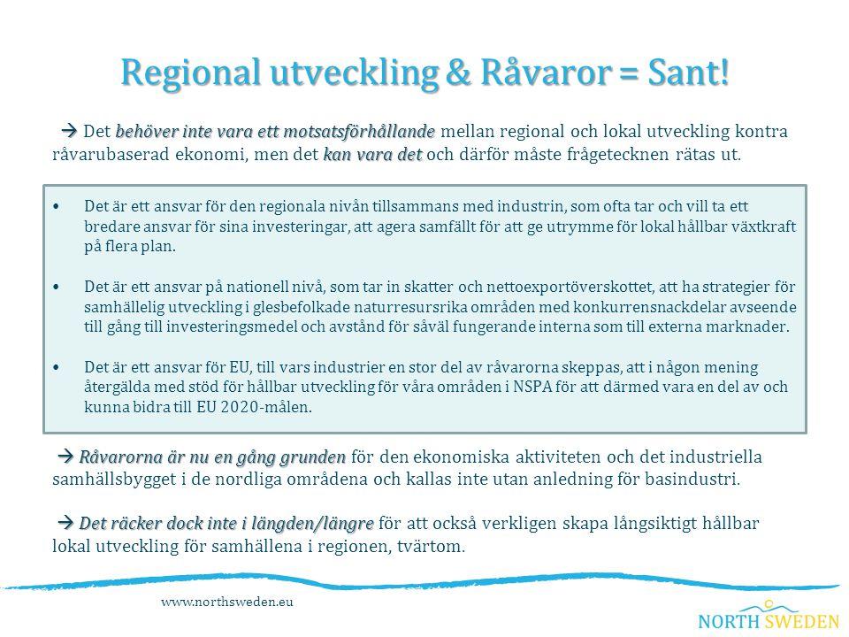 Regional utveckling & Råvaror = Sant.
