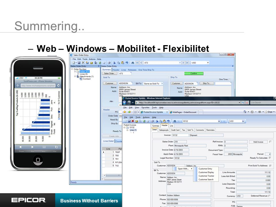 Business Without Barriers © 2009 Epicor Software Corporation Summering.. –Web – Windows – Mobilitet - Flexibilitet