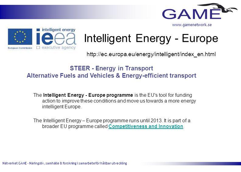 Nätverket GAME - Näringsliv, samhälle & forskning i samarbete för hållbar utveckling www.gamenetwork.se Intelligent Energy - Europe The Intelligent Energy - Europe programme is the EU s tool for funding action to improve these conditions and move us towards a more energy intelligent Europe.