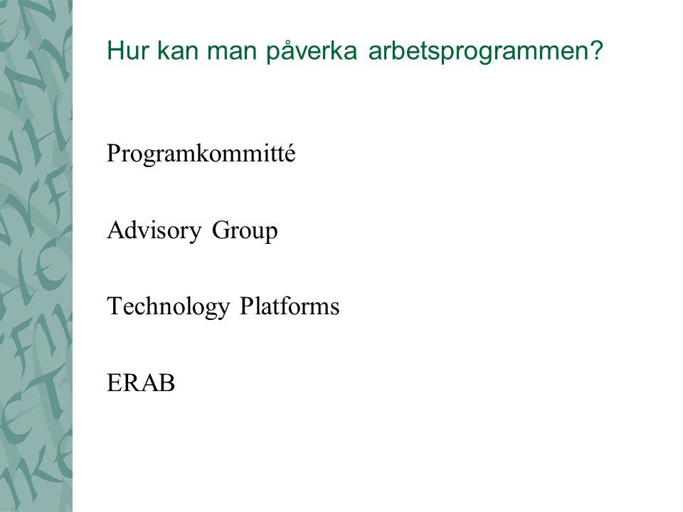 Hur kan man påverka arbetsprogrammen Programkommitté Advisory Group Technology Platforms ERAB