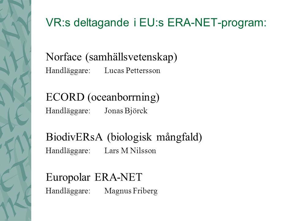 VR:s deltagande i EU:s ERA-NET-program: Norface (samhällsvetenskap) Handläggare: Lucas Pettersson ECORD (oceanborrning) Handläggare: Jonas Björck BiodivERsA (biologisk mångfald) Handläggare:Lars M Nilsson Europolar ERA-NET Handläggare:Magnus Friberg