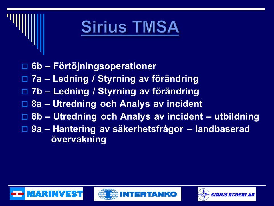  6b – Förtöjningsoperationer  7a – Ledning / Styrning av förändring  7b – Ledning / Styrning av förändring  8a – Utredning och Analys av incident