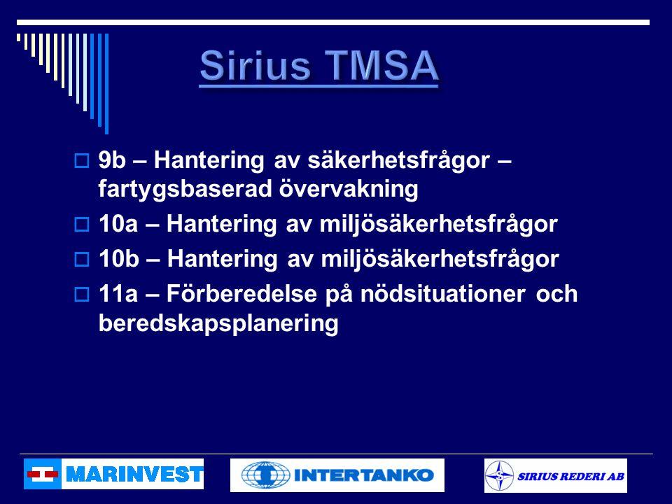  9b – Hantering av säkerhetsfrågor – fartygsbaserad övervakning  10a – Hantering av miljösäkerhetsfrågor  10b – Hantering av miljösäkerhetsfrågor 