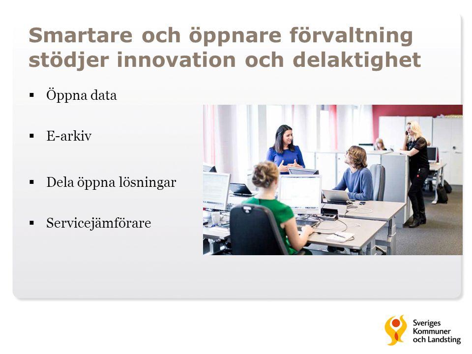 Smartare och öppnare förvaltning stödjer innovation och delaktighet  Öppna data  E-arkiv  Dela öppna lösningar  Servicejämförare (