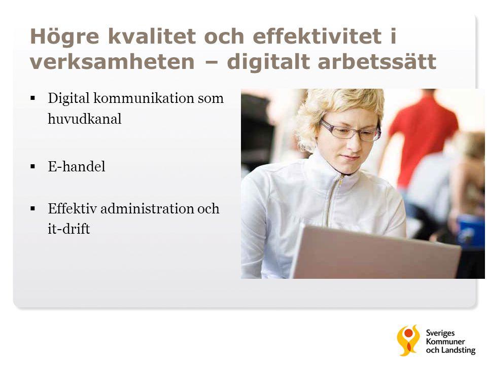 Högre kvalitet och effektivitet i verksamheten – digitalt arbetssätt  Digital kommunikation som huvudkanal  E-handel  Effektiv administration och i
