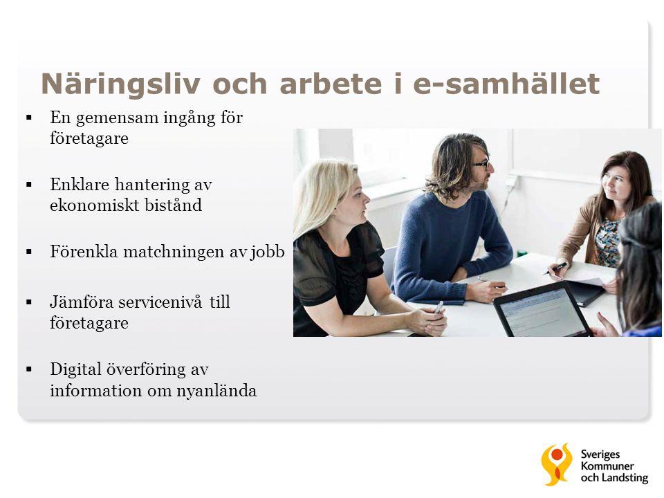 Näringsliv och arbete i e-samhället  En gemensam ingång för företagare  Enklare hantering av ekonomiskt bistånd  Förenkla matchningen av jobb  Jäm