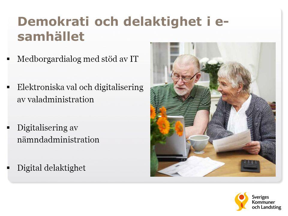 Demokrati och delaktighet i e- samhället  Medborgardialog med stöd av IT  Elektroniska val och digitalisering av valadministration  Digitalisering