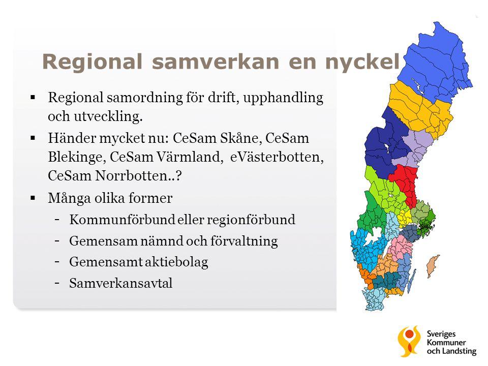 Regional samverkan en nyckel  Regional samordning för drift, upphandling och utveckling.  Händer mycket nu: CeSam Skåne, CeSam Blekinge, CeSam Värml