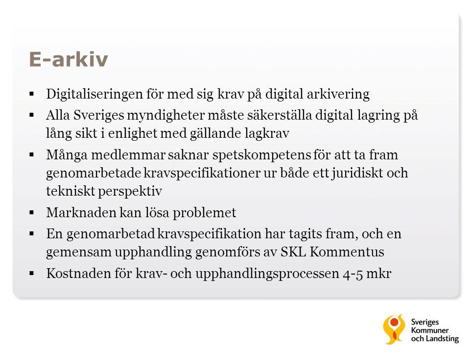 E-arkiv  Digitaliseringen för med sig krav på digital arkivering  Alla Sveriges myndigheter måste säkerställa digital lagring på lång sikt i enlighe