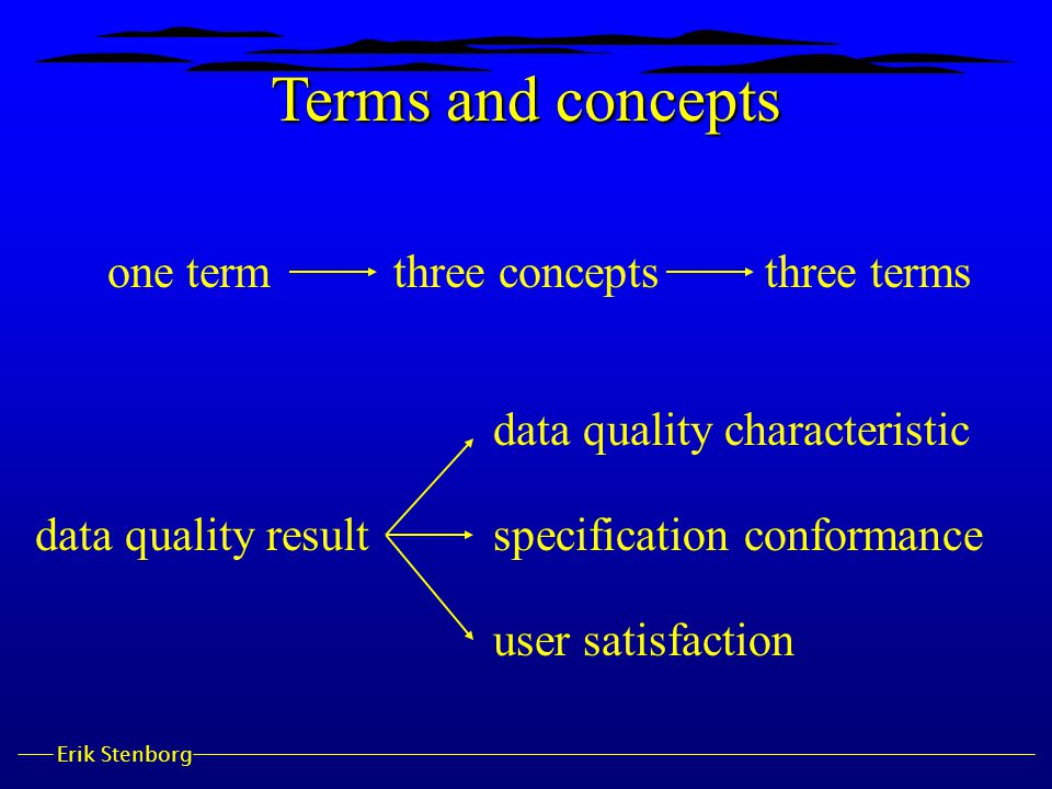 Erik Stenborg one termthree conceptsthree terms data quality result data quality characteristic specification conformance user satisfaction Terms and