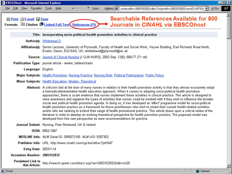 Searchable References Available for 800 Journals in CINAHL via EBSCOhost