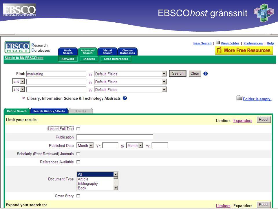 EBSCOhost gränssnit