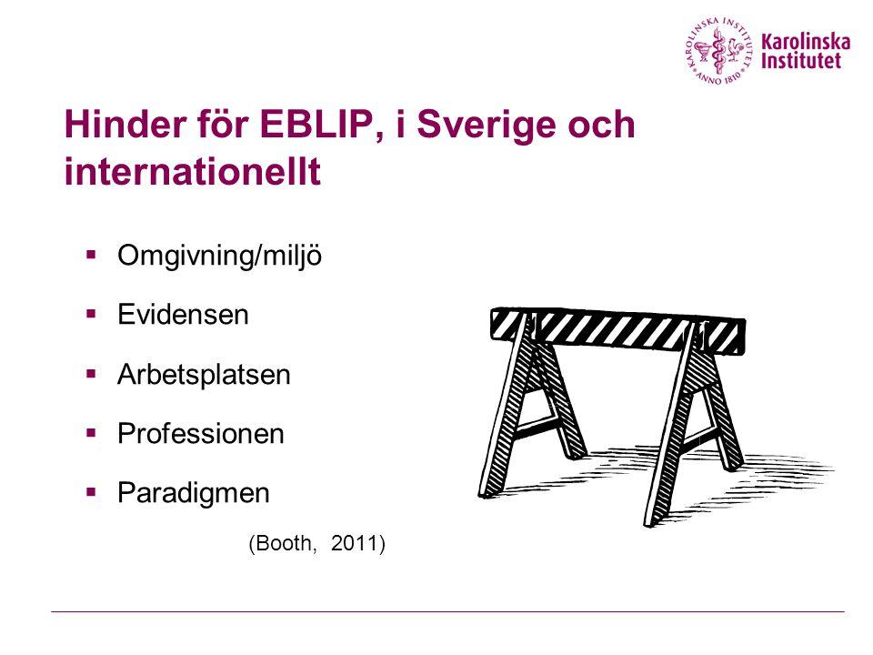 EBLIP-processen En individuell rigorös steg-för-steg-process, med fokus på att finna vetenskaplig/forskningsinformation 1.Definiera problemet (enligt t ex PICO) 2.Hitta evidens 3.Kritisk granskning av evidens 4.Använd funna evidens 5.Utvärdera förändringen 6.Omdefiniera problemet Jfr Evidence-based practice for information professionals : a handbook (2004).