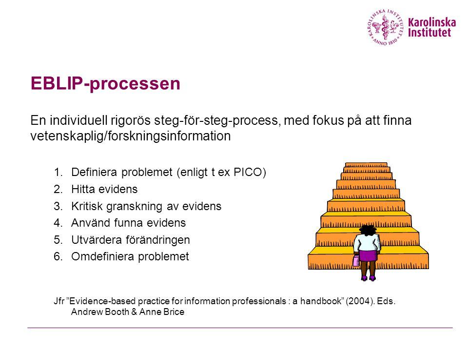 EBLIP-processen En individuell rigorös steg-för-steg-process, med fokus på att finna vetenskaplig/forskningsinformation 1.Definiera problemet (enligt