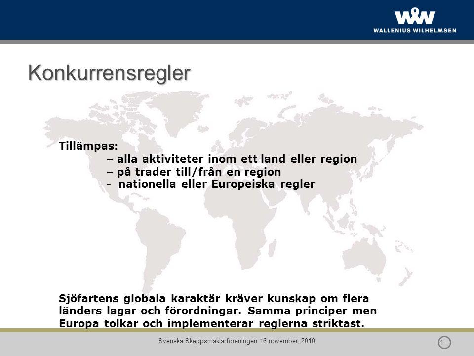  4 4 Konkurrensregler Tillämpas: – alla aktiviteter inom ett land eller region – på trader till/från en region - nationella eller Europeiska regler
