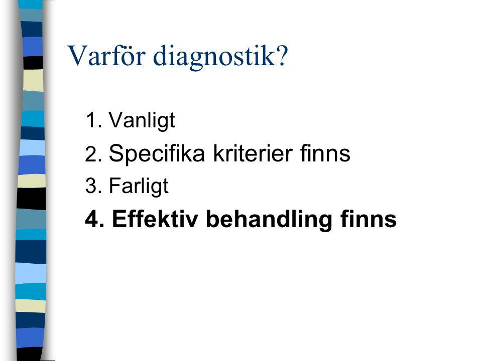 Varför diagnostik? 1. Vanligt 2. Specifika kriterier finns 3. Farligt 4. Effektiv behandling finns