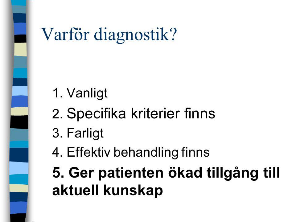Varför diagnostik? 1. Vanligt 2. Specifika kriterier finns 3. Farligt 4. Effektiv behandling finns 5. Ger patienten ökad tillgång till aktuell kunskap