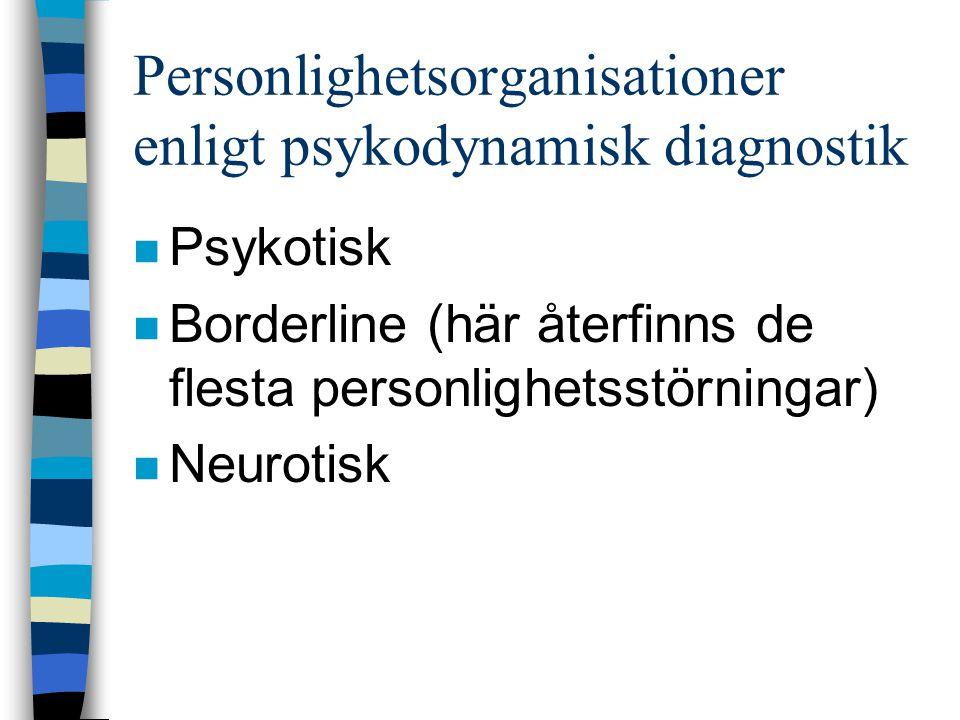 Personlighetsorganisationer enligt psykodynamisk diagnostik n Psykotisk n Borderline (här återfinns de flesta personlighetsstörningar) n Neurotisk