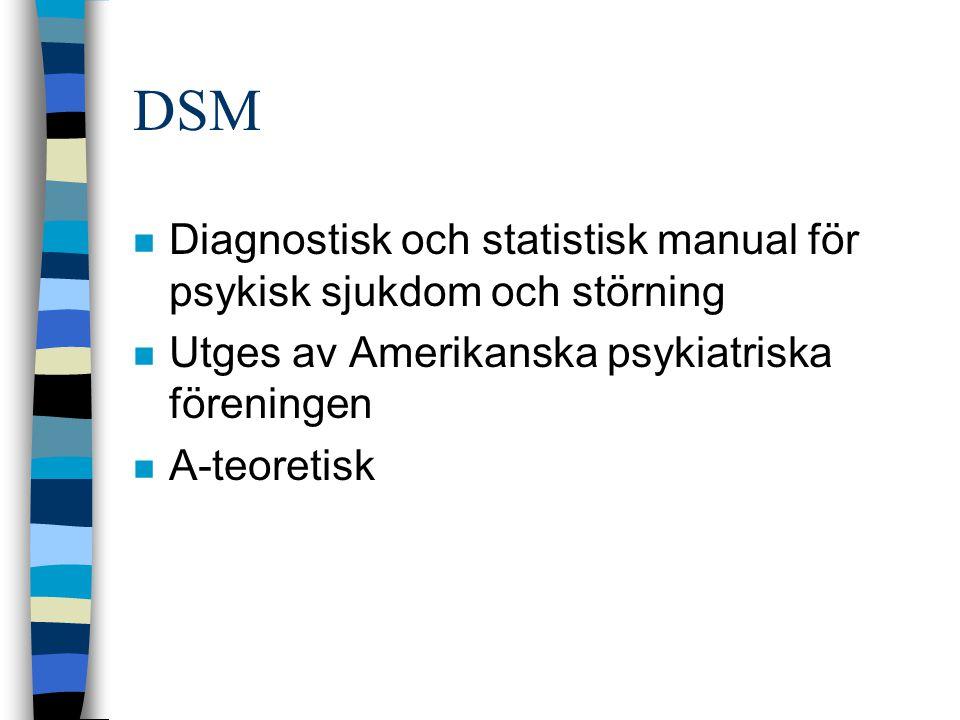 DSM n Diagnostisk och statistisk manual för psykisk sjukdom och störning n Utges av Amerikanska psykiatriska föreningen n A-teoretisk