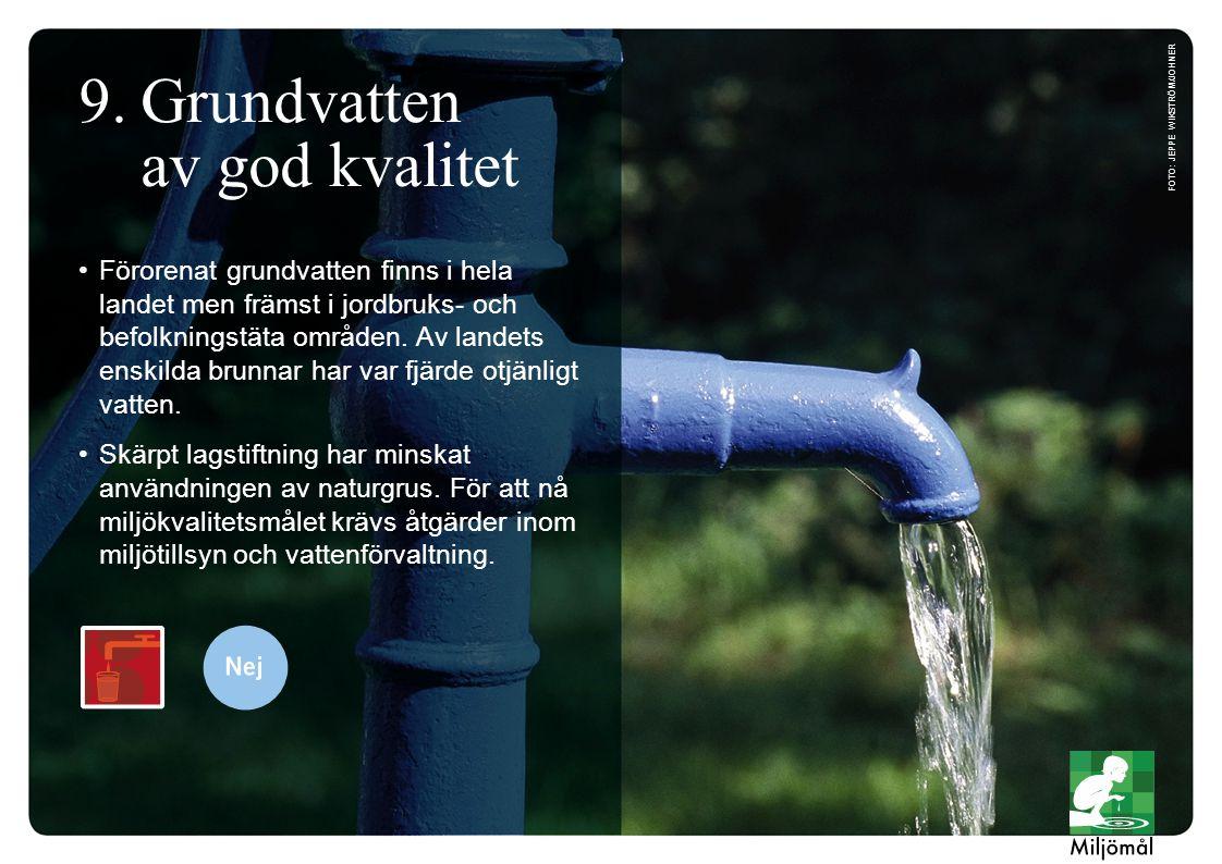 Förorenat grundvatten finns i hela landet men främst i jordbruks- och befolkningstäta områden. Av landets enskilda brunnar har var fjärde otjänligt va