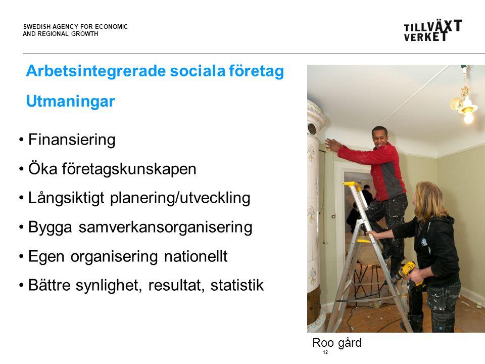 SWEDISH AGENCY FOR ECONOMIC AND REGIONAL GROWTH 12 Arbetsintegrerade sociala företag Utmaningar Finansiering Öka företagskunskapen Långsiktigt planering/utveckling Bygga samverkansorganisering Egen organisering nationellt Bättre synlighet, resultat, statistik Roo gård