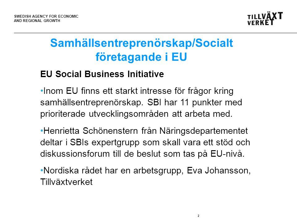 SWEDISH AGENCY FOR ECONOMIC AND REGIONAL GROWTH 2 EU Social Business Initiative Inom EU finns ett starkt intresse för frågor kring samhällsentreprenörskap.