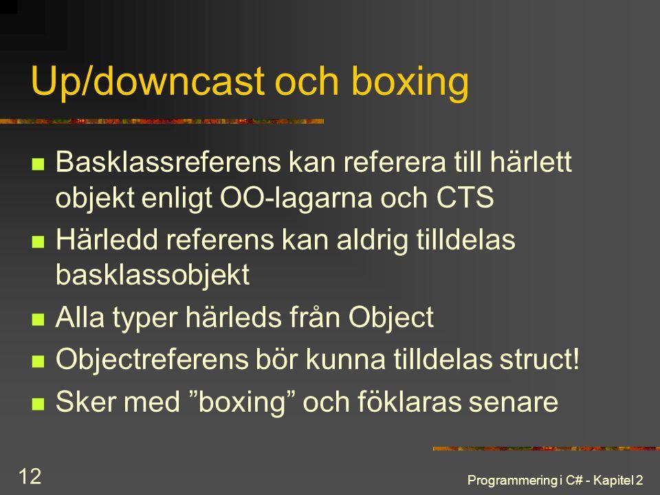 Programmering i C# - Kapitel 2 12 Up/downcast och boxing Basklassreferens kan referera till härlett objekt enligt OO-lagarna och CTS Härledd referens