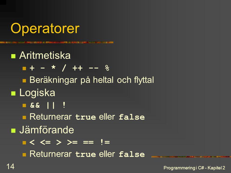 Programmering i C# - Kapitel 2 14 Operatorer Aritmetiska + - * / ++ -- % Beräkningar på heltal och flyttal Logiska && || ! Returnerar true eller false