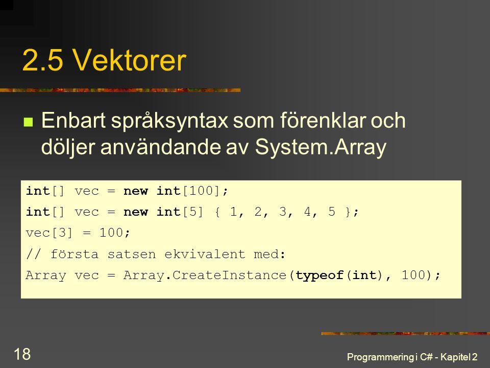 Programmering i C# - Kapitel 2 18 2.5 Vektorer Enbart språksyntax som förenklar och döljer användande av System.Array int[] vec = new int[100]; int[]