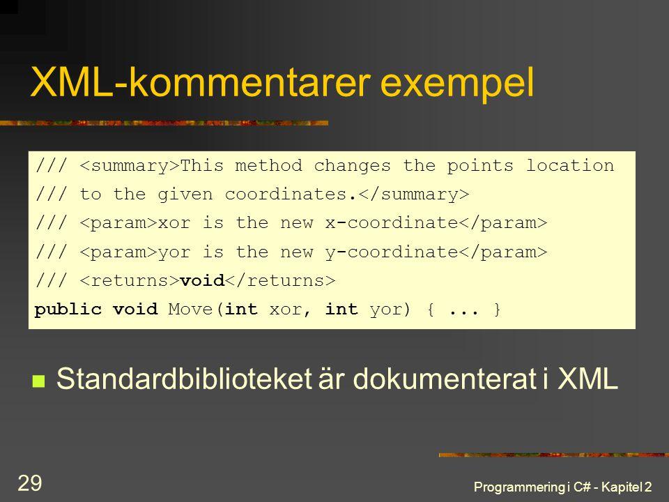 Programmering i C# - Kapitel 2 29 XML-kommentarer exempel Standardbiblioteket är dokumenterat i XML /// This method changes the points location /// to