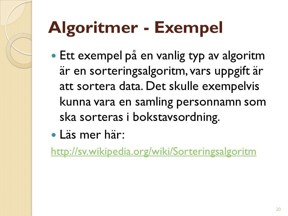 20 Algoritmer - Exempel Ett exempel på en vanlig typ av algoritm är en sorteringsalgoritm, vars uppgift är att sortera data. Det skulle exempelvis kun