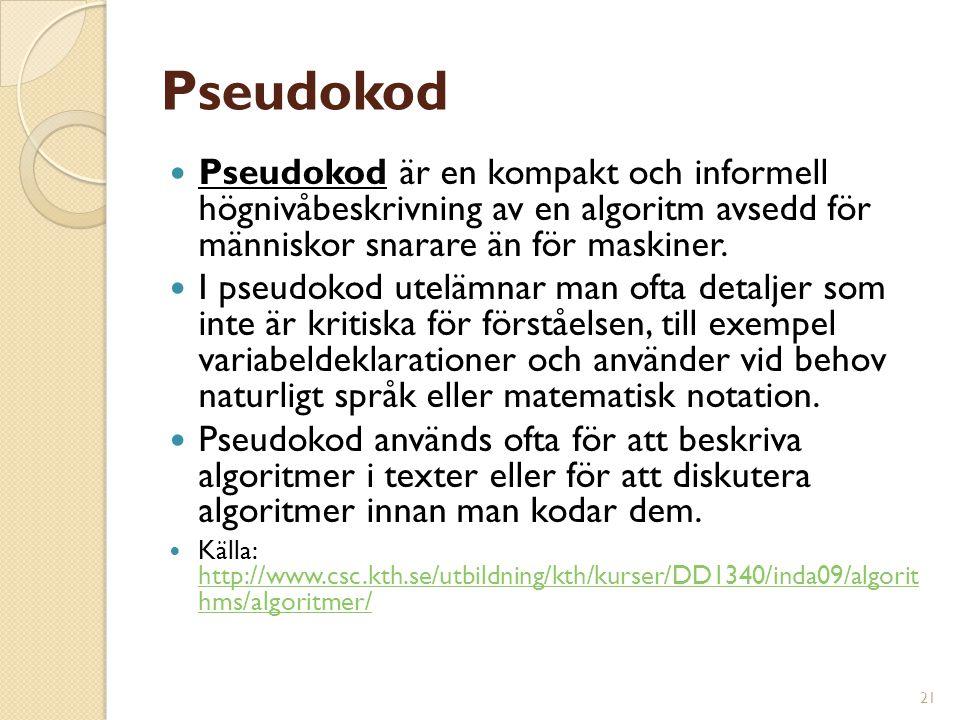 21 Pseudokod Pseudokod är en kompakt och informell högnivåbeskrivning av en algoritm avsedd för människor snarare än för maskiner. I pseudokod utelämn
